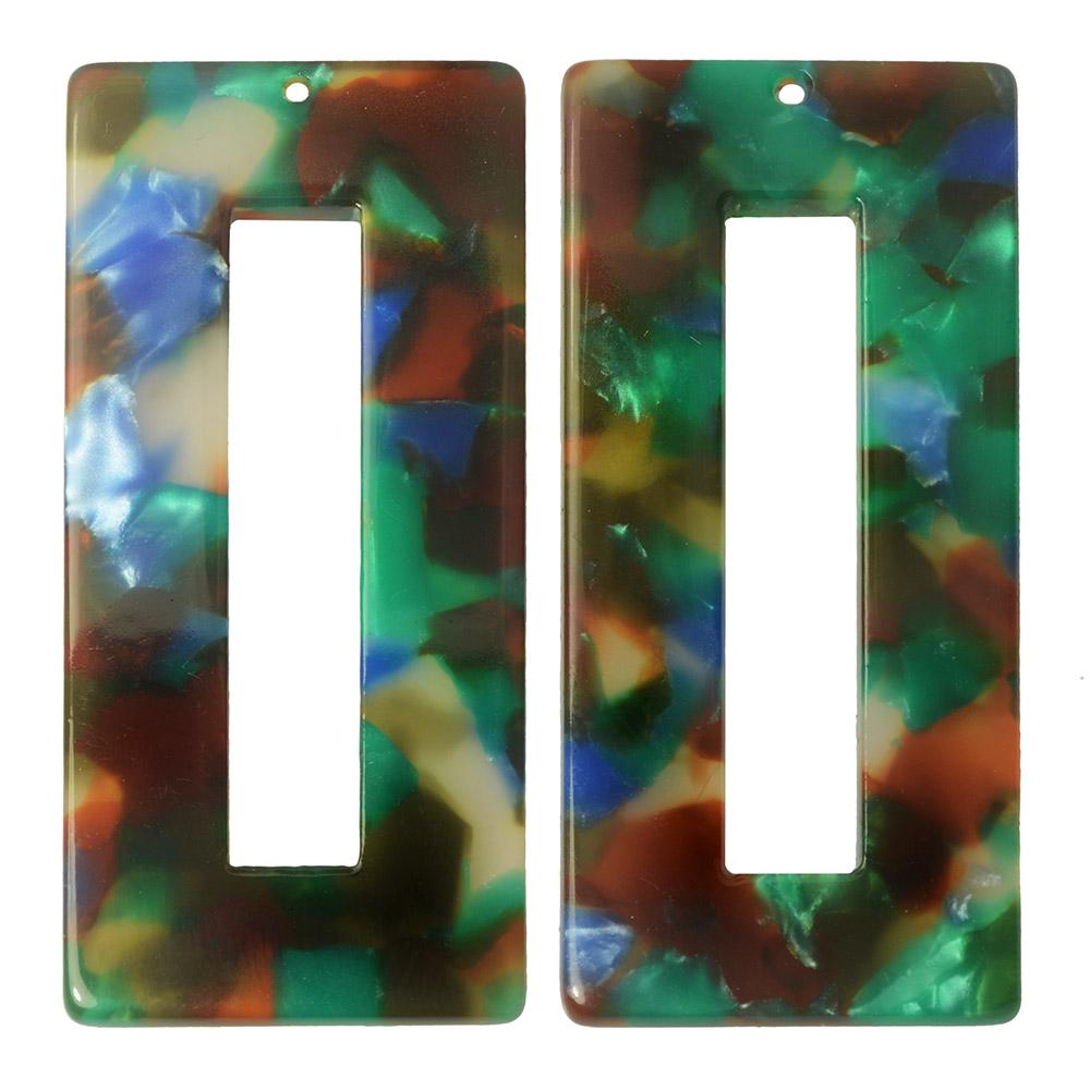 Zola Elements Acetate Pendant, Rectangle 22x49mm, 2 Pieces, Lagoon