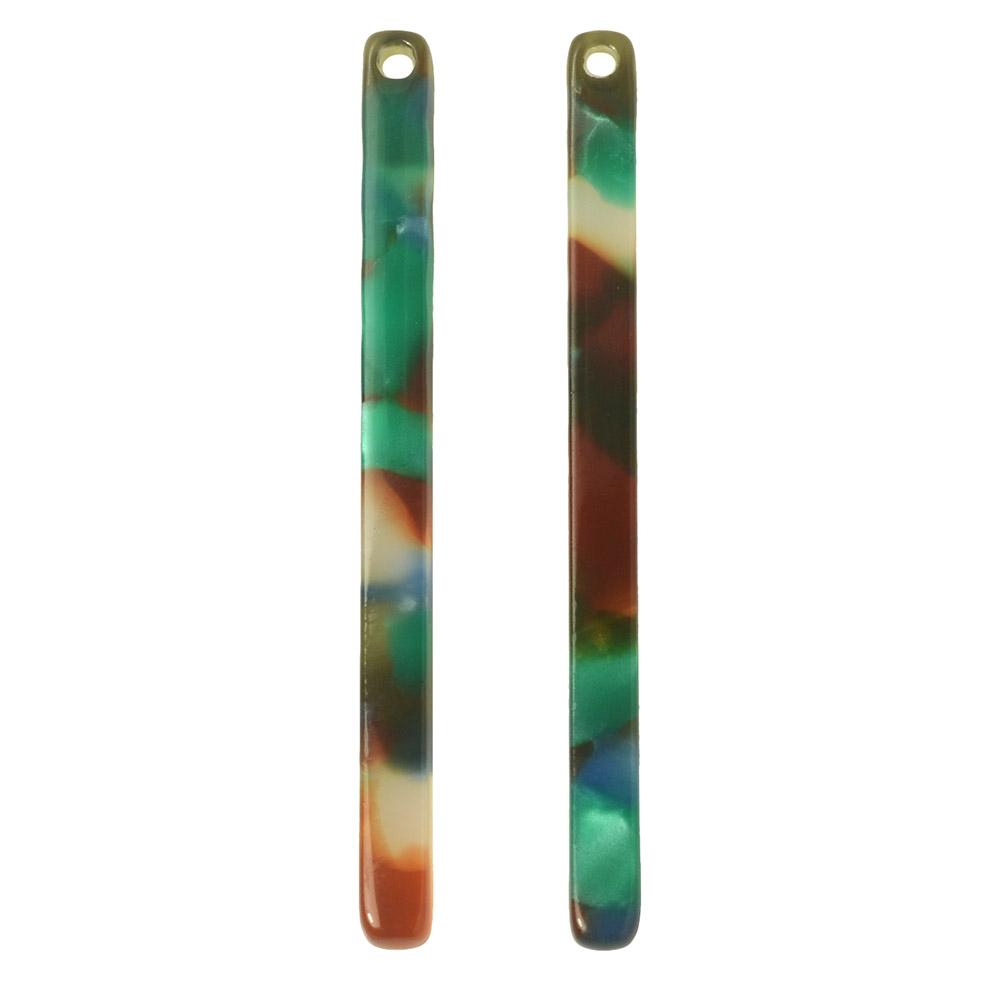 Zola Elements Acetate Pendant, Bar Drop 3x39mm, 2 Pieces, Lagoon