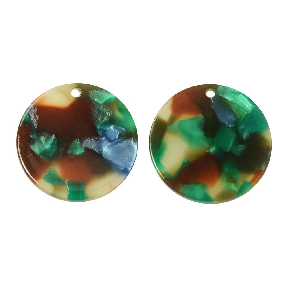 Zola Elements Acetate Pendant, Coin 20mm, 2 Pieces, Lagoon