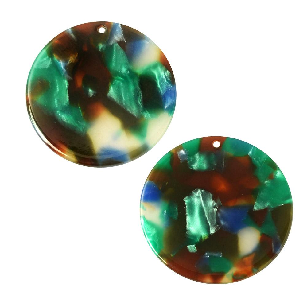 Zola Elements Acetate Pendant, Coin 30mm, 2 Pieces, Lagoon