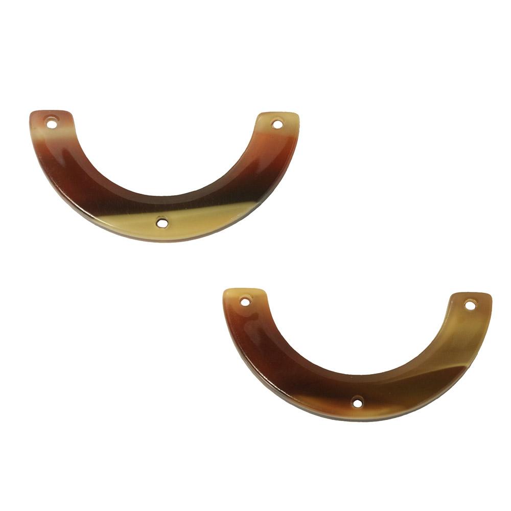 Zola Elements Acetate Y-Connector Link, U-Shape 30x15mm, 2 Pieces, Brown Sugar