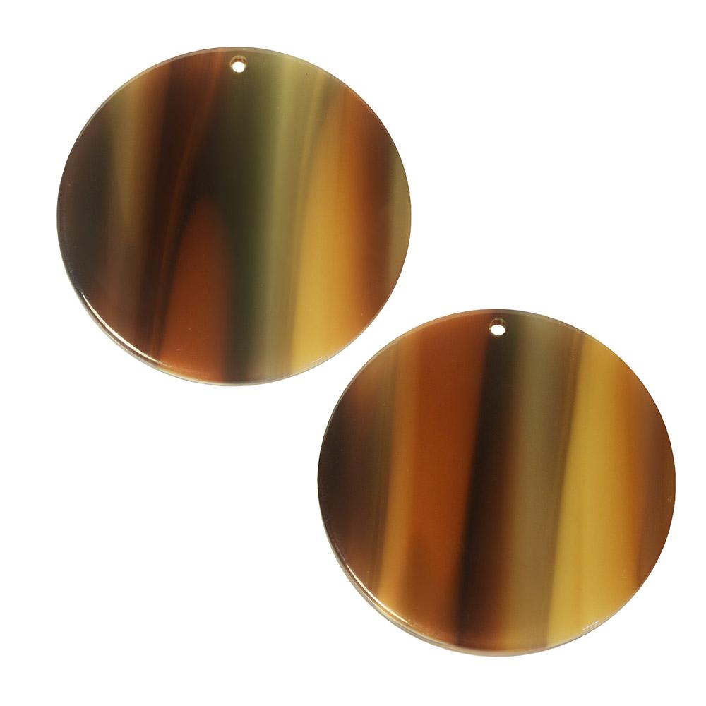 Zola Elements Acetate Pendant, Coin 30mm, 2 Pieces, Brown Sugar