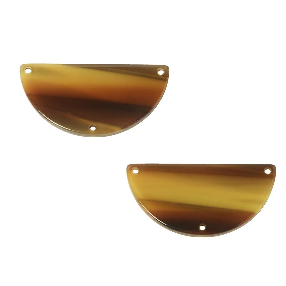 Zola Elements Acetate Y-Connector Link, Half Circle 30x15mm, 2 Pieces, Brown Sugar