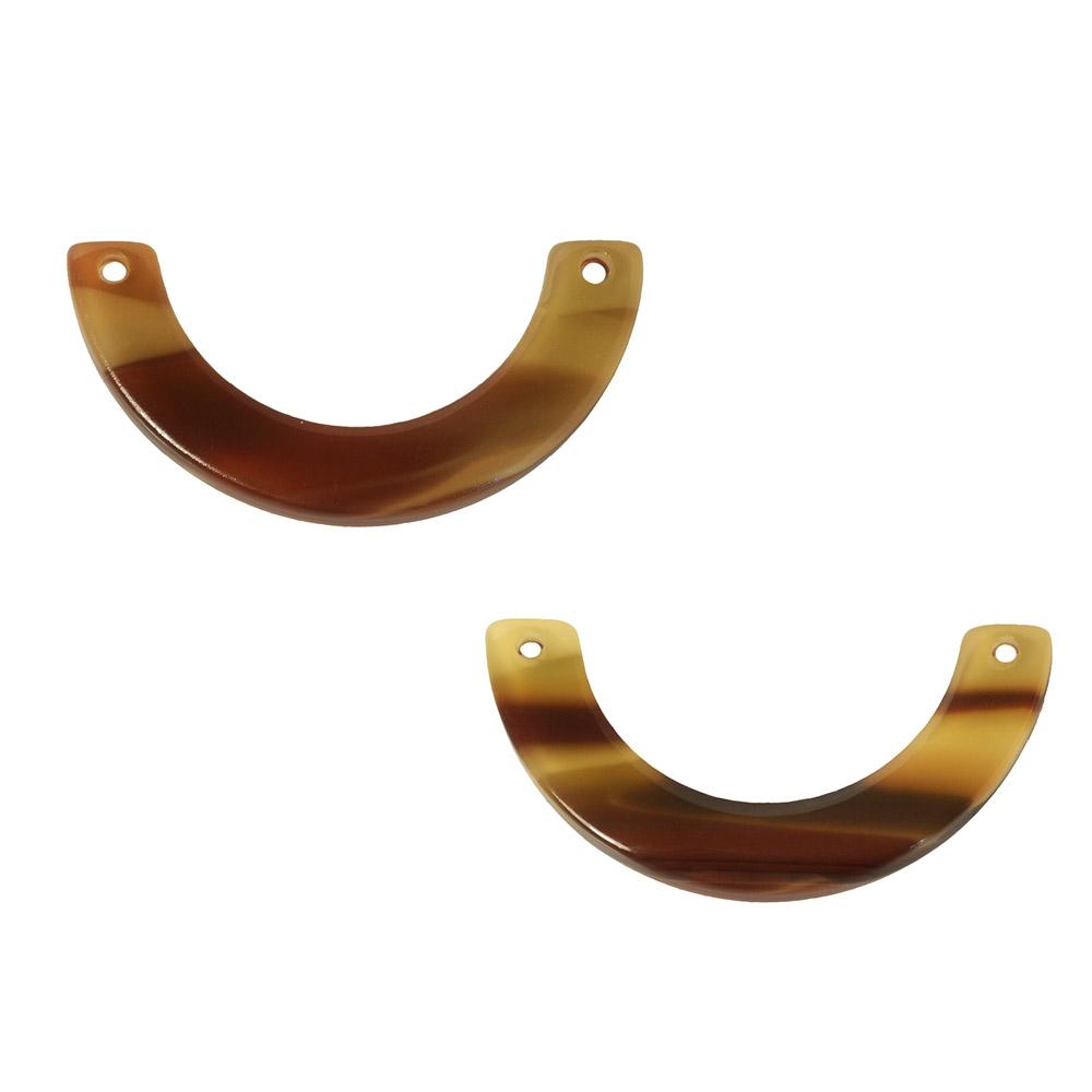 Zola Elements Acetate Connector Link, U-Shape 30x15mm, 2 Pieces, Brown Sugar
