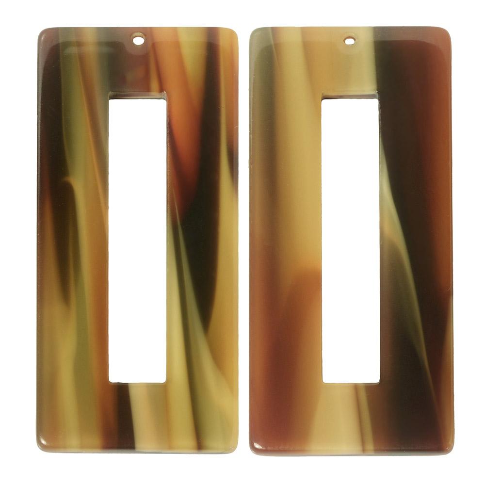 Zola Elements Acetate Pendant, Rectangle 22x49mm, 2 Pieces, Brown Sugar