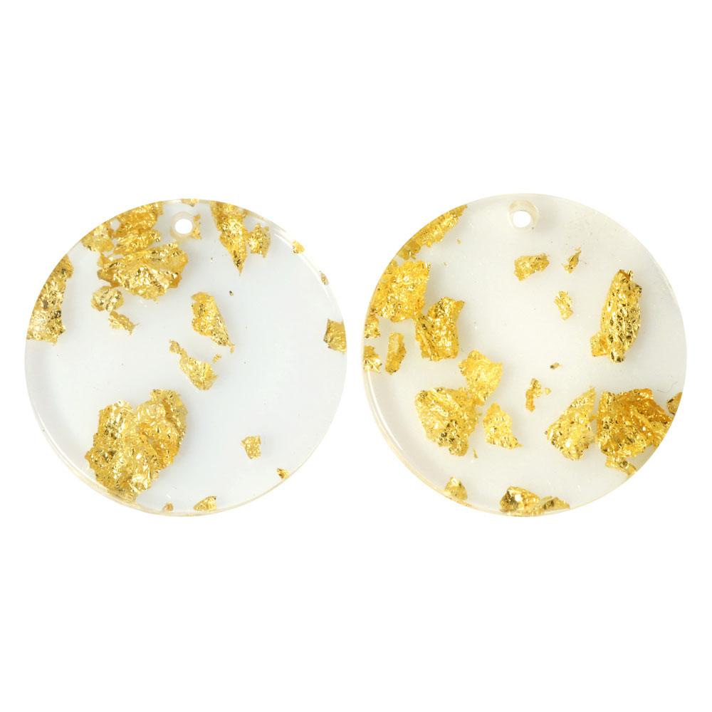 Zola Elements Acetate Pendant, Coin 20mm, 2 Pieces, Gold Foil