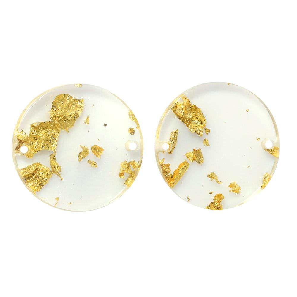 Zola Elements Acetate Connector Link, Coin 20mm, 2 Pieces, Gold Foil