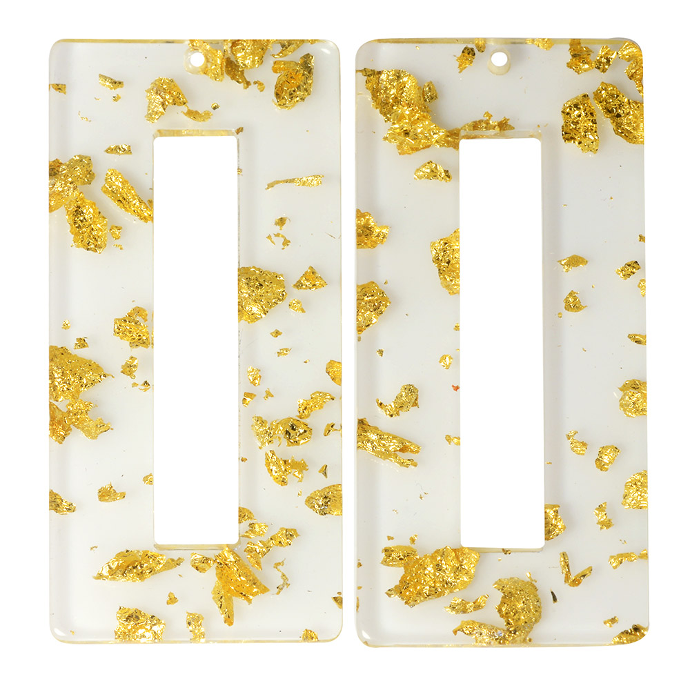 Zola Elements Acetate Pendant, Rectangle 22x49mm, 2 Pieces, Gold Foil