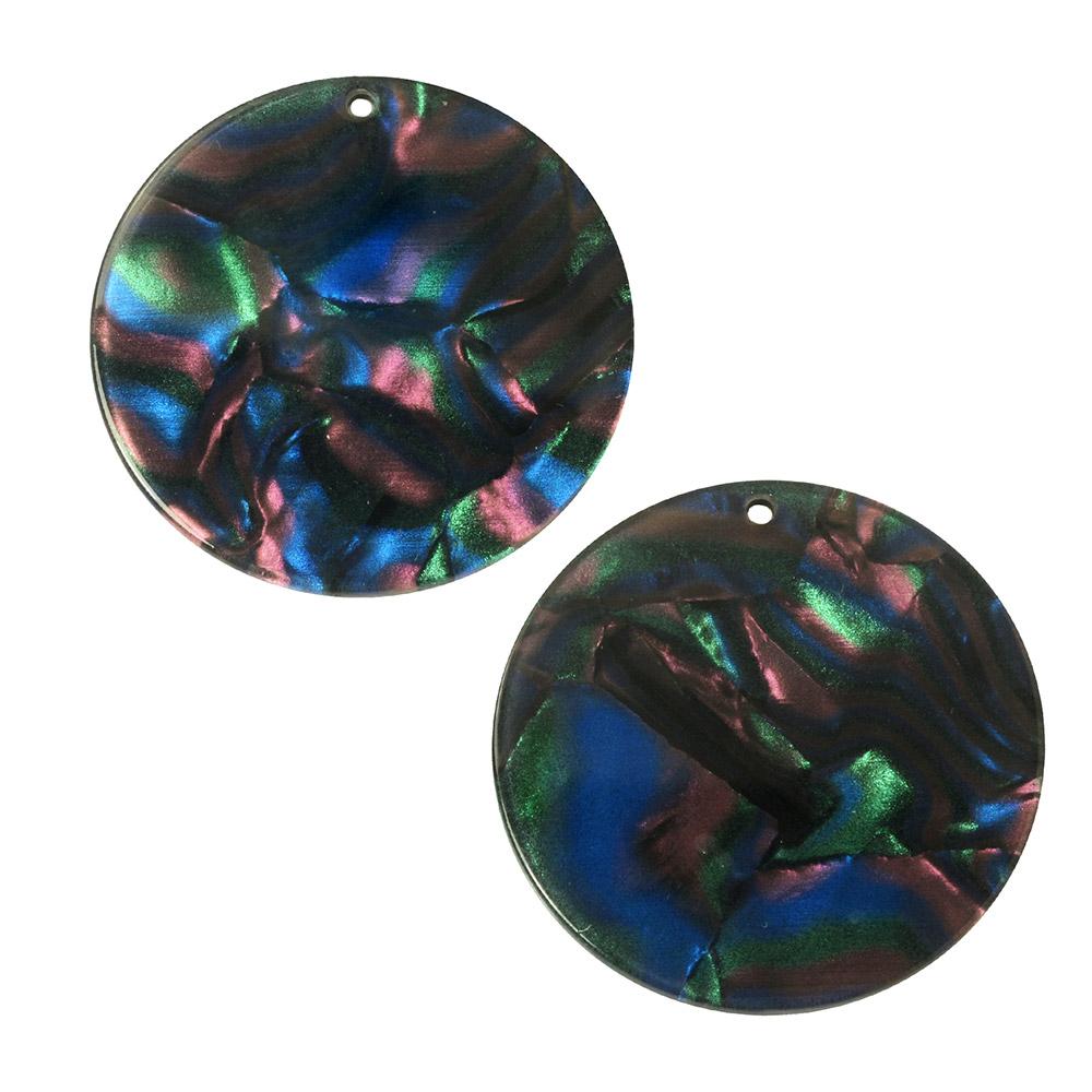 Zola Elements Acetate Pendant, Coin 30mm, 2 Pieces, Moondance