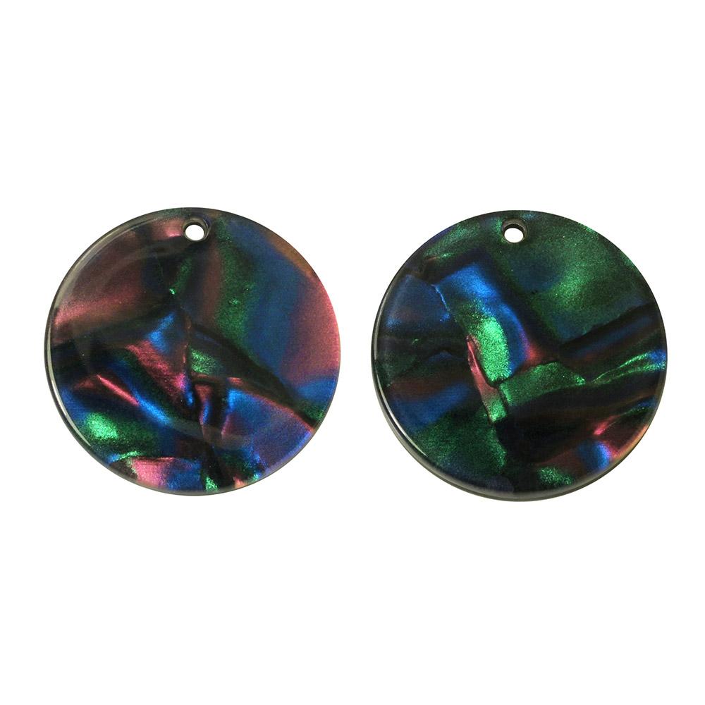 Zola Elements Acetate Pendant, Coin 20mm, 2 Pieces, Moondance