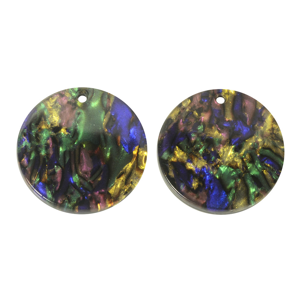 Zola Elements Acetate Pendant, Coin 20mm, 2 Pieces, Abalone