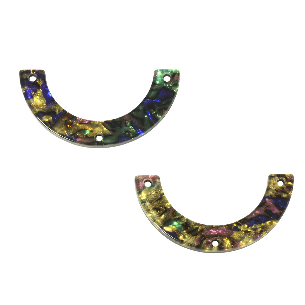 Zola Elements Acetate Y-Connector Link, U-Shape 30x15mm, 2 Pieces, Abalone