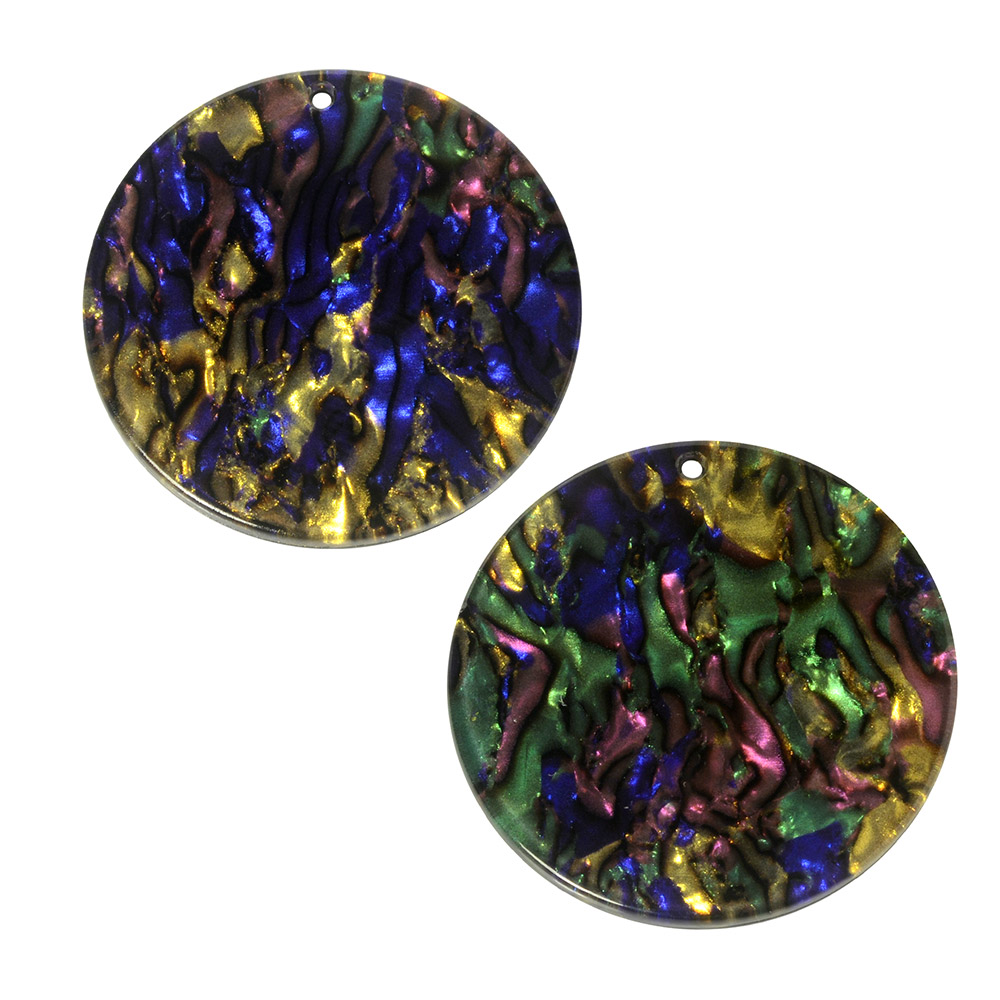 Zola Elements Acetate Pendant, Coin 30mm, 2 Pieces, Abalone