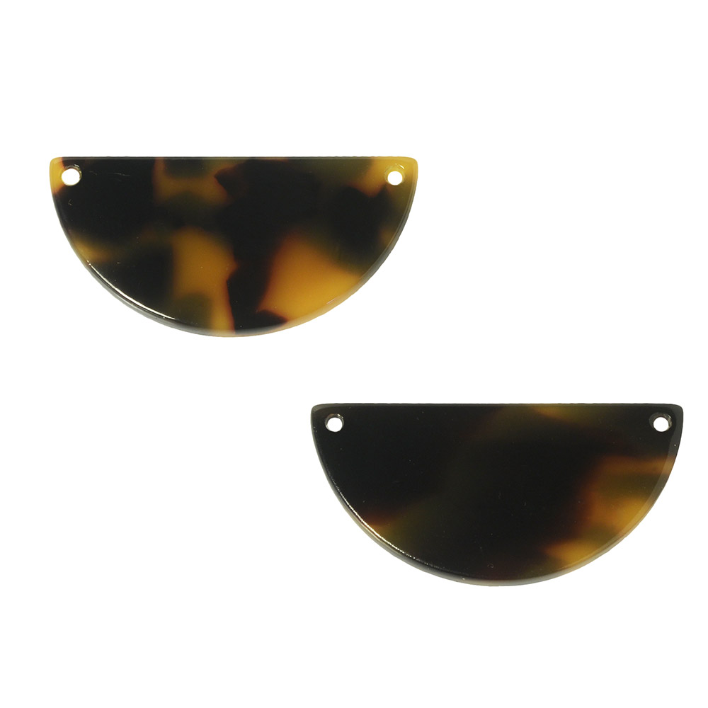 Zola Elements Acetate Connector Link, Half Circle 30x15mm, 2 Pieces, Brown Tortoise Shell