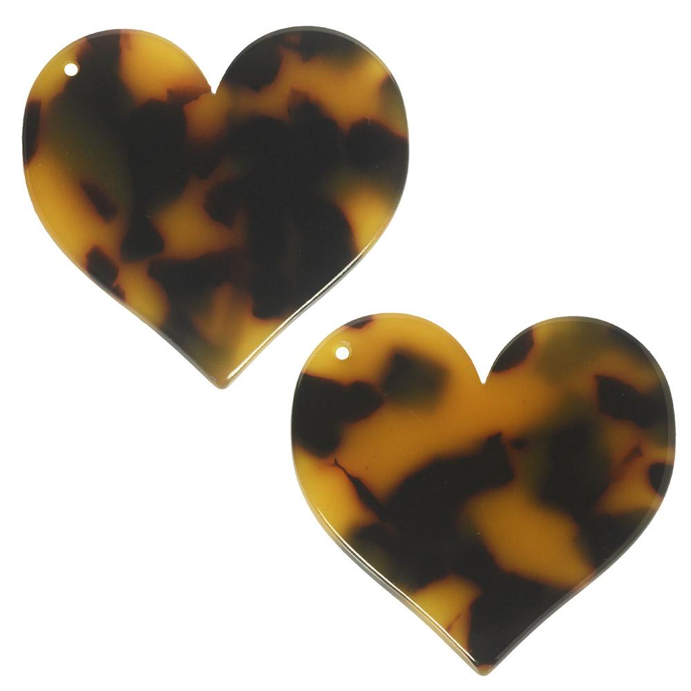 Zola Elements Acetate Pendant, Heart 35mm, 2 Pieces, Brown Tortoise Shell