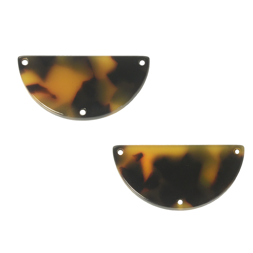 Zola Elements Acetate Y-Connector Link, Half Circle 29.5x15mm, 2 Pieces, Brown Tortoise Shell