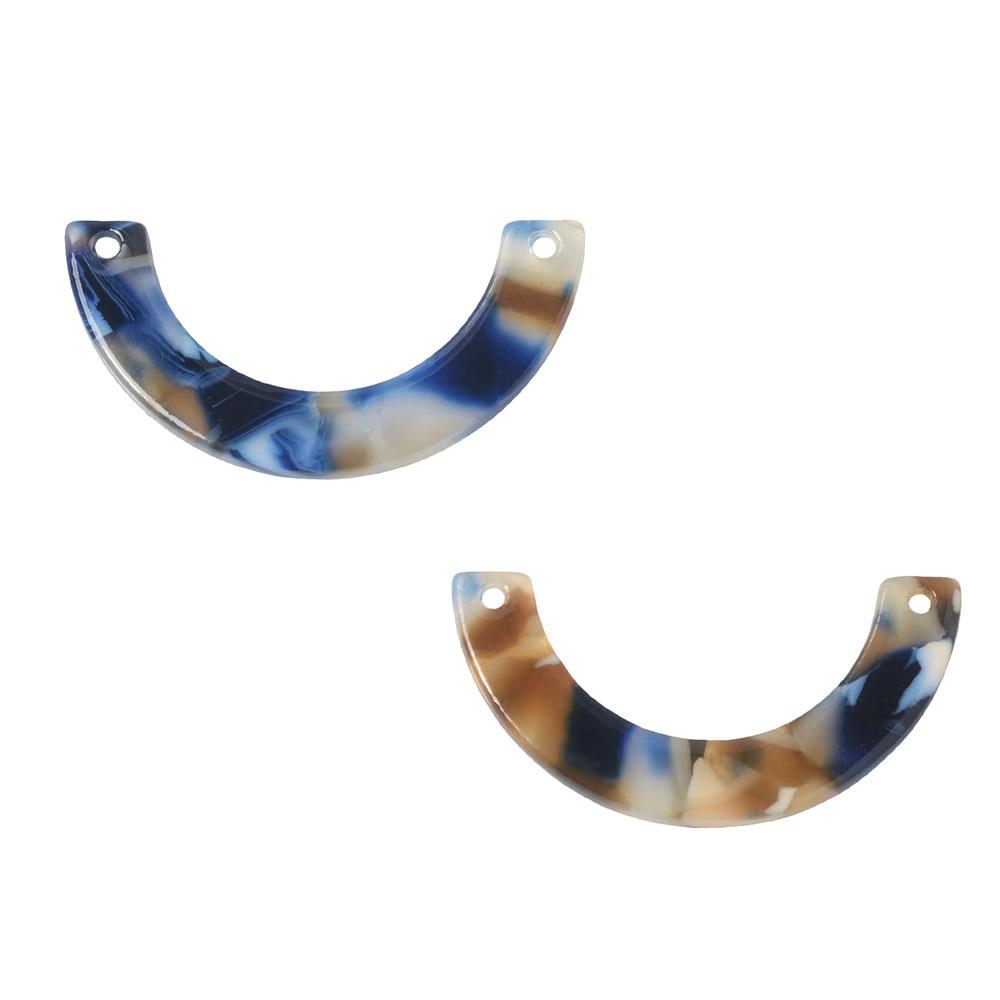 Zola Elements Acetate Connector Link, U-Shape 30x15mm, 2 Pieces, Twilight Blue