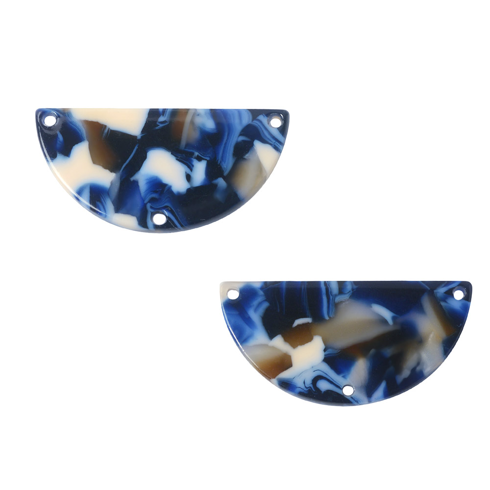 Zola Elements Acetate Y-Connector Link, Half Circle 30x15mm, 2 Pieces, Twilight Blue