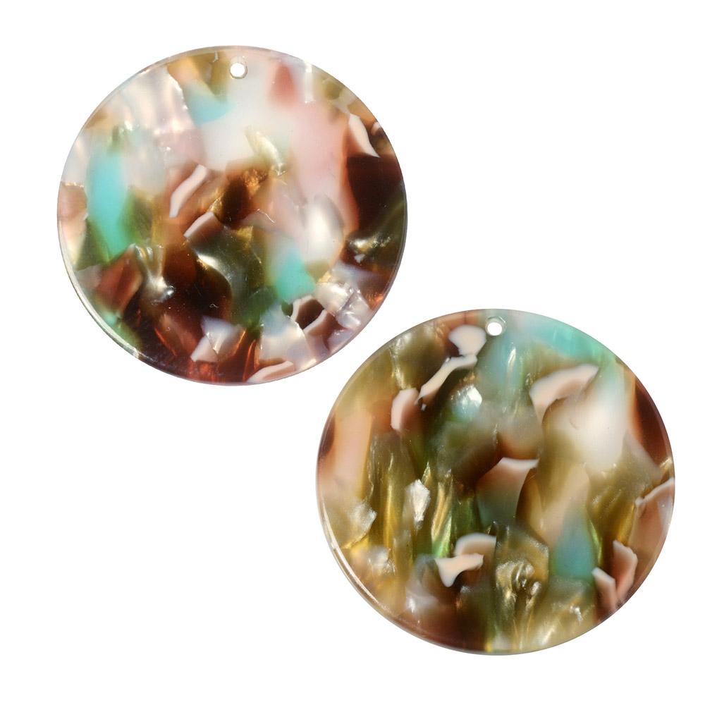 Zola Elements Acetate Pendant, Coin 30mm, 2 Pieces, Mermaid