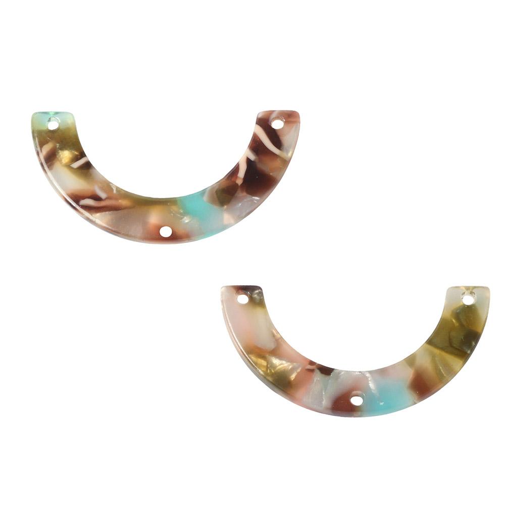 Zola Elements Acetate Y-Connector Link, U-Shape 30x15mm, 2 Pieces, Mermaid