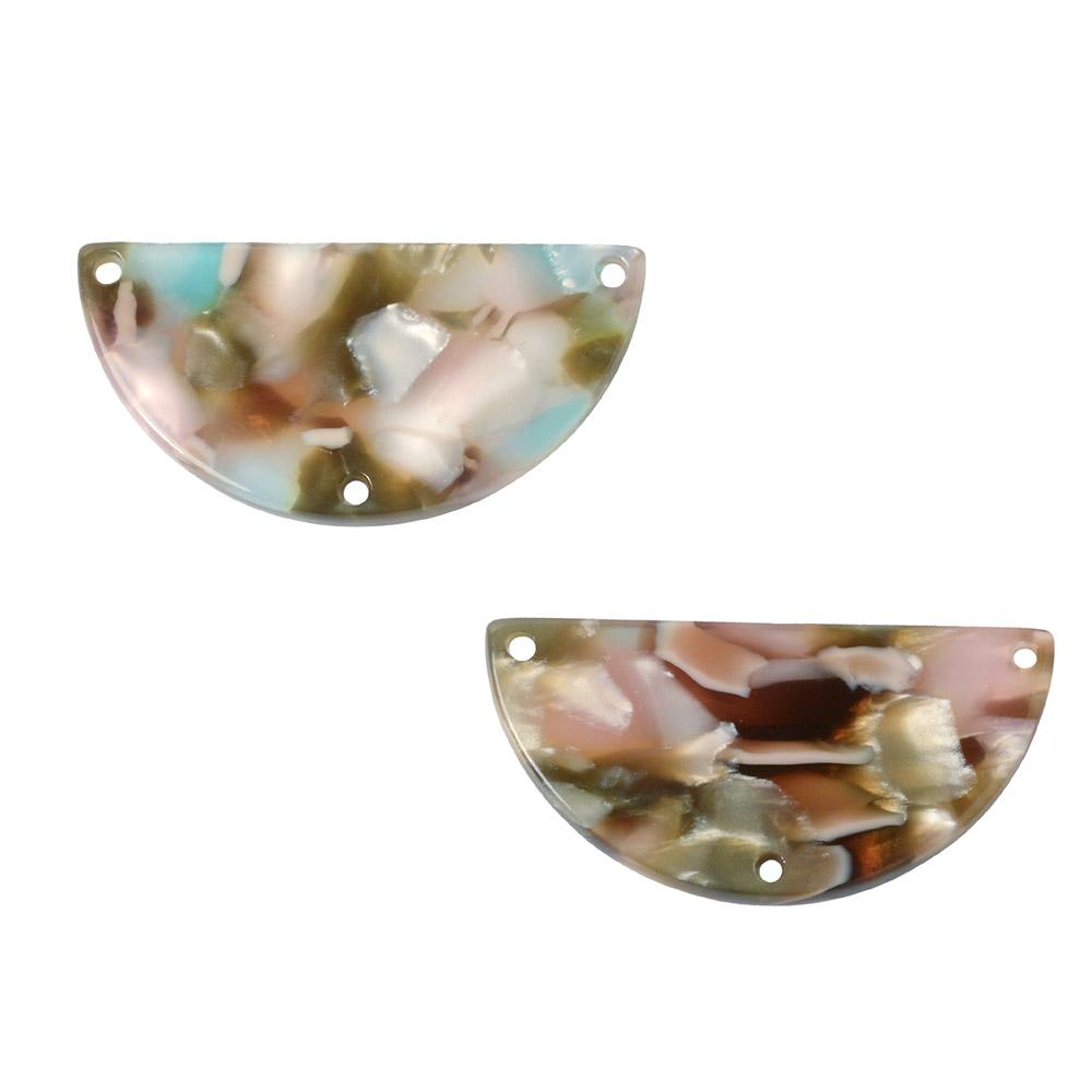 Zola Elements Acetate Y-Connector Link, Half Circle 30x15mm, 2 Pieces Mermaid