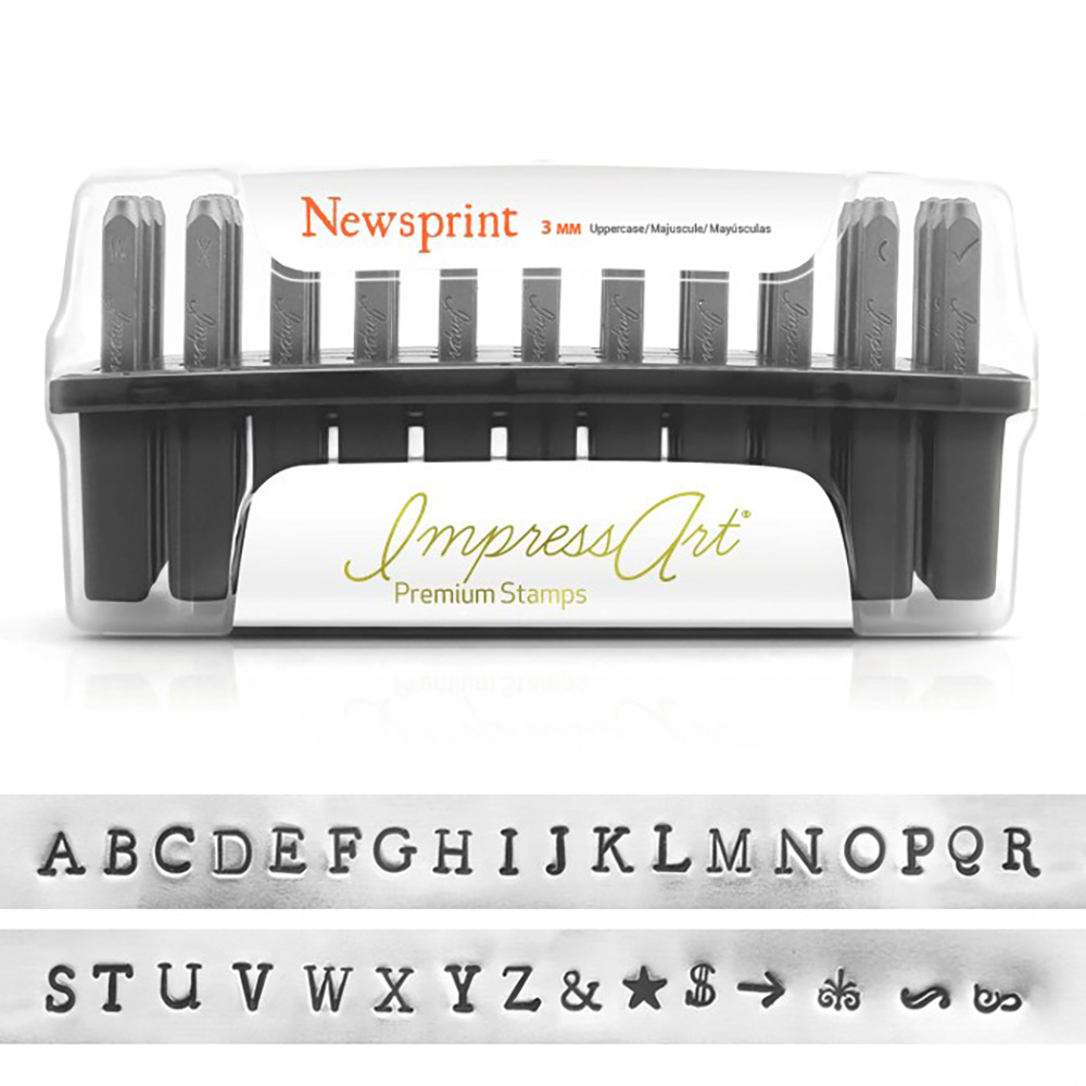 ImpressArt Metal Punch Stamp Set, Uppercase Alphabet, Newsprint 3mm, 33 Piece Set, Steel