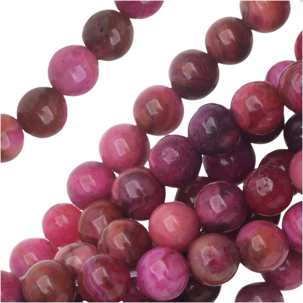 Dakota Stones Gemstone Beads, Pink Crazy Lace Agate, Round 4mm, 7.5 Inch Strand