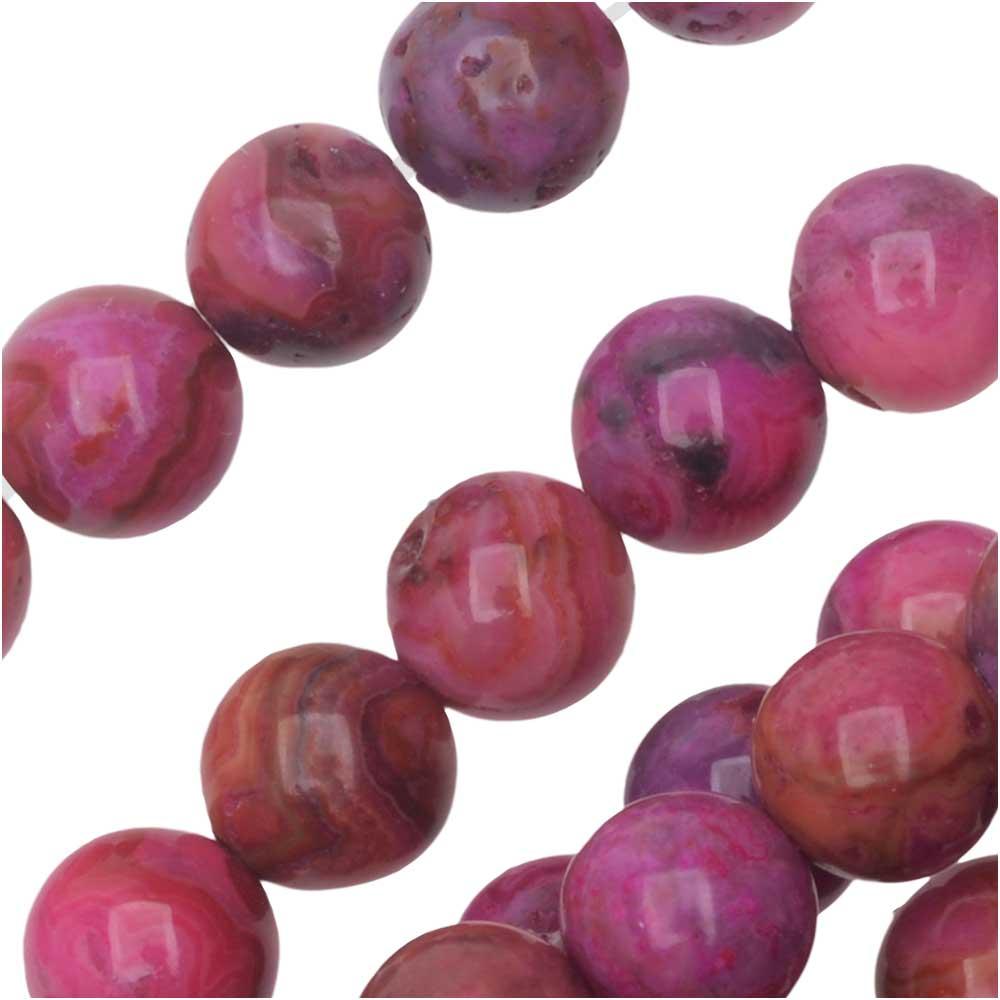 Dakota Stones Gemstone Beads, Pink Crazy Lace Agate, Round 6mm, 8 Inch Strand