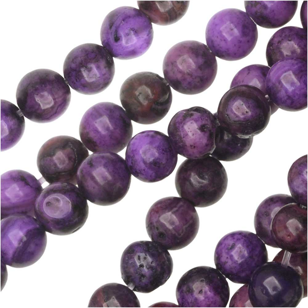Dakota Stones Gemstone Beads, Purple Crazy Lace Agate, Round 4mm, 8 Inch Strand