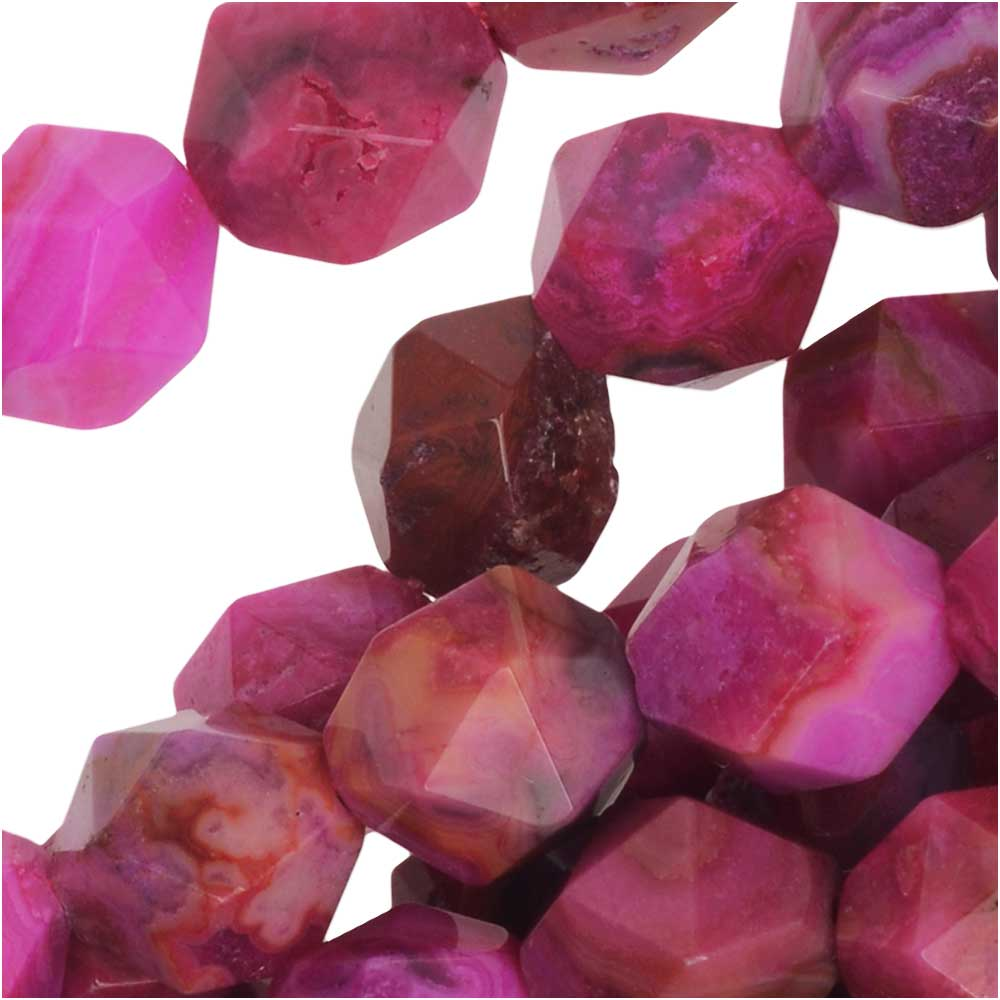 Dakota Stones Gemstone Beads, Pink Crazy Lace Agate, Star Cut Faceted Round 8mm, 15 Inch Strand