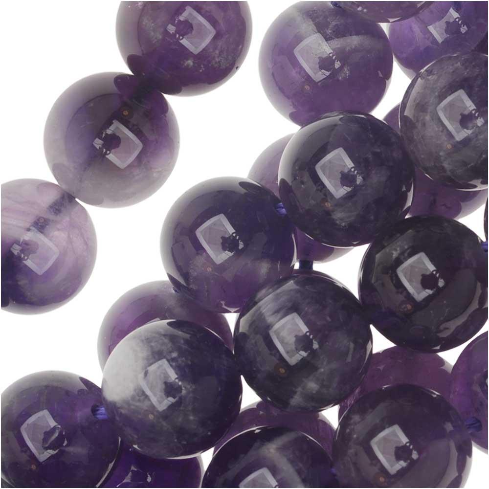 Amethyst Gemstone Beads, Round 10mm, 15.5 Inch Strand, Purple