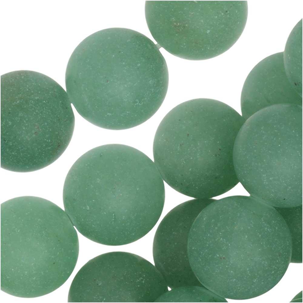 Dakota Stones Gemstone Beads, Green Aventurine, Matte Round 8mm, 7.75 Inch Strand