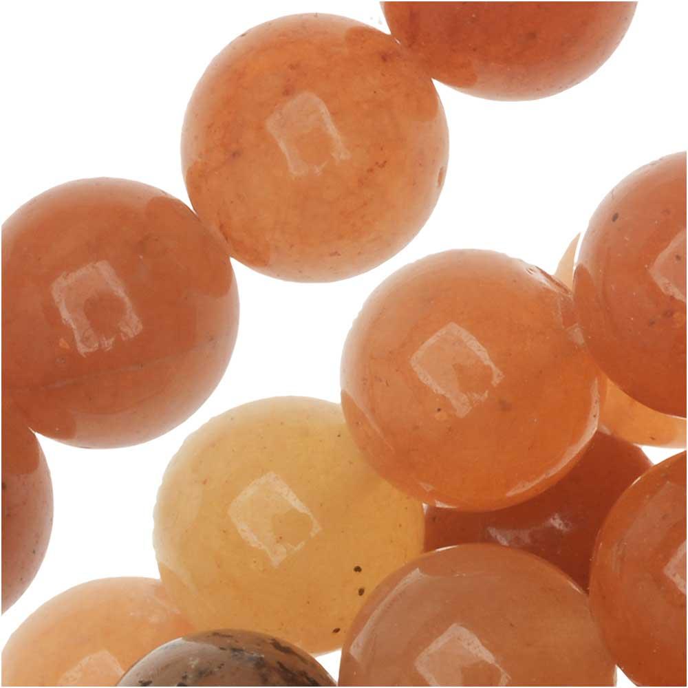 Red Orange Aventurine 8mm Round Beads / 15 Inch Strand