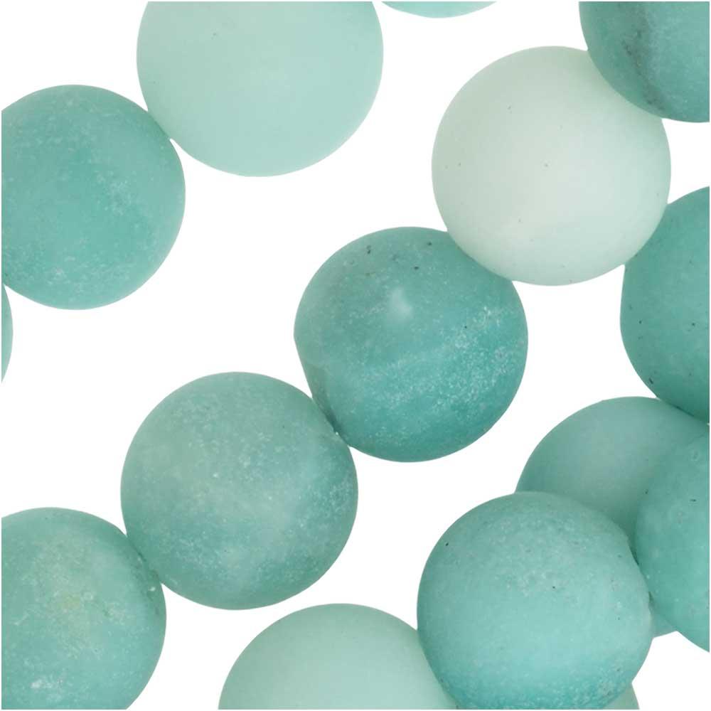 Dakota Stones Gemstone Beads, Green Amazonite, Matte Round 8.5mm, 8 Inch Strand