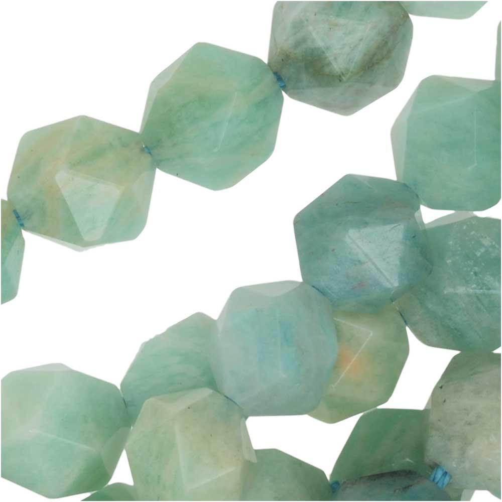 Dakota Stones Gemstone Beads, Peruvian Amazonite, Star Cut Faceted Round 8mm, 15 Inch Strand