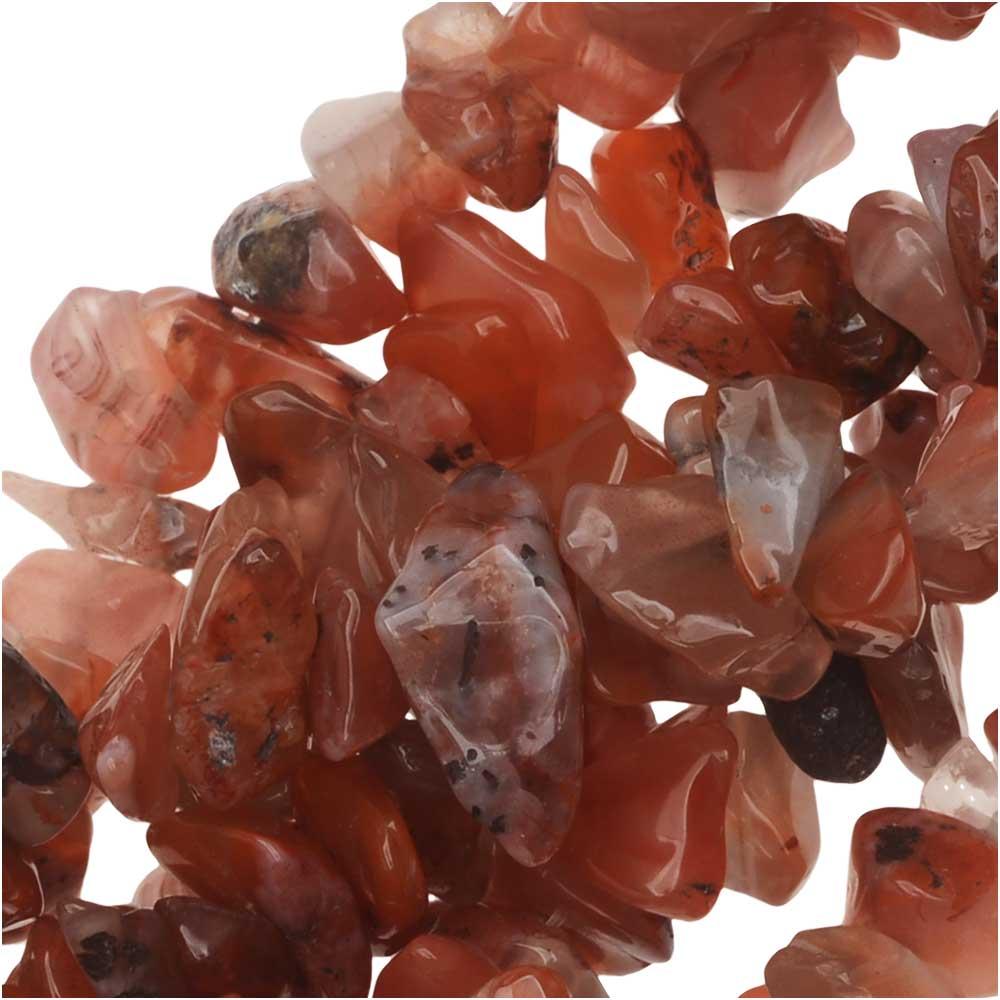 Carnelian Gemstone Beads, Smooth Chip 6-12mm, 34-36 Inch Strand