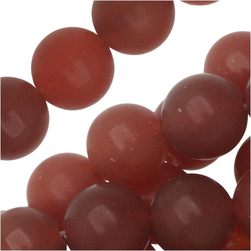 Dakota Stones Gemstone Beads, Red Carnelian, Matte Round 8mm, 8 Inch Strand