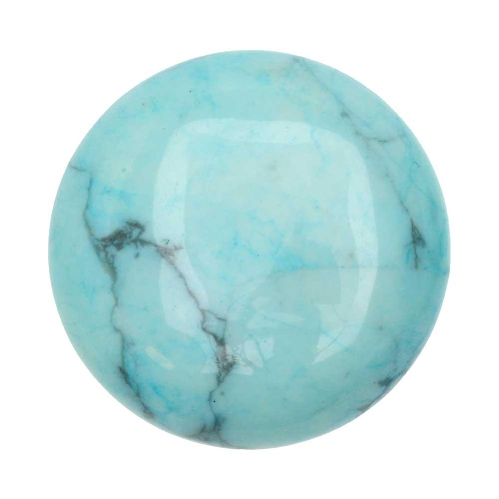 Chinese Turquoise Dyed Howlite Gemstone Round Flat-Back Cabochons 25mm (1)