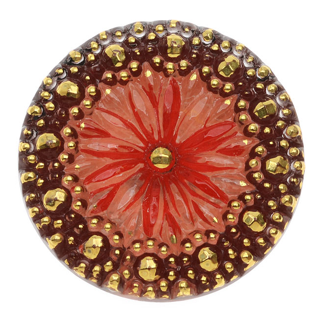 Czech Glass Flat Back Button Cabochon, Floral Design 27.5mm Round, 1 Piece, Red and Gold