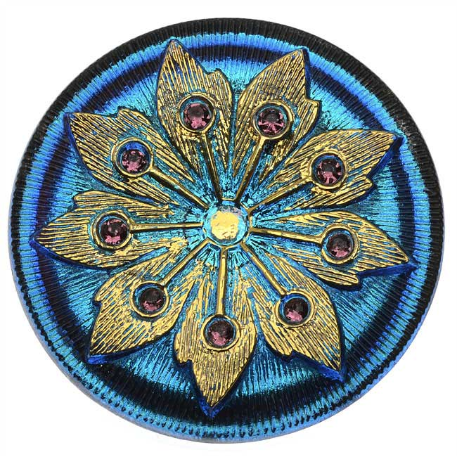 Czech Glass Flat Back Button Cabochon, Floral Burst 38mm Round, 1 Piece, Vitrail and Gold