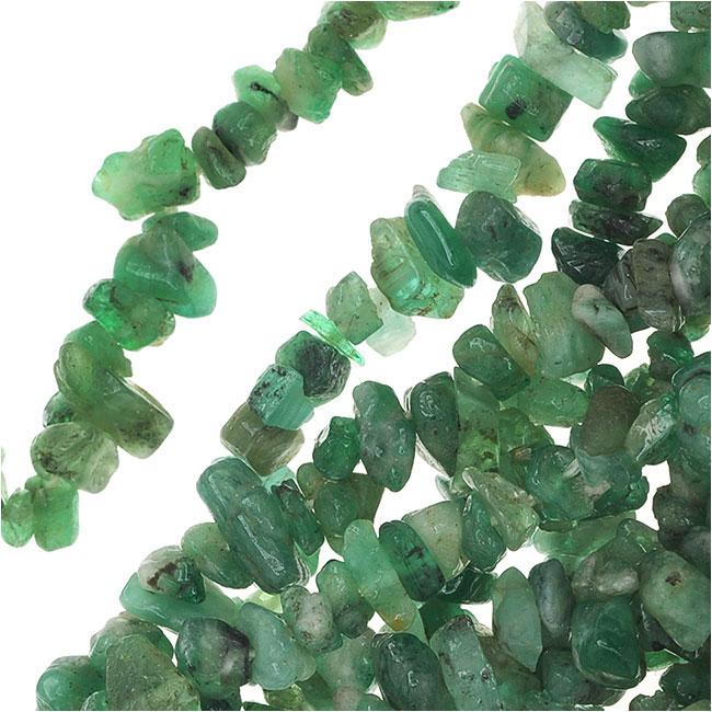 Corundum Gemstone, Chip Beads 2.5-4.5mm, 34 Inch Strand, Emerald Green