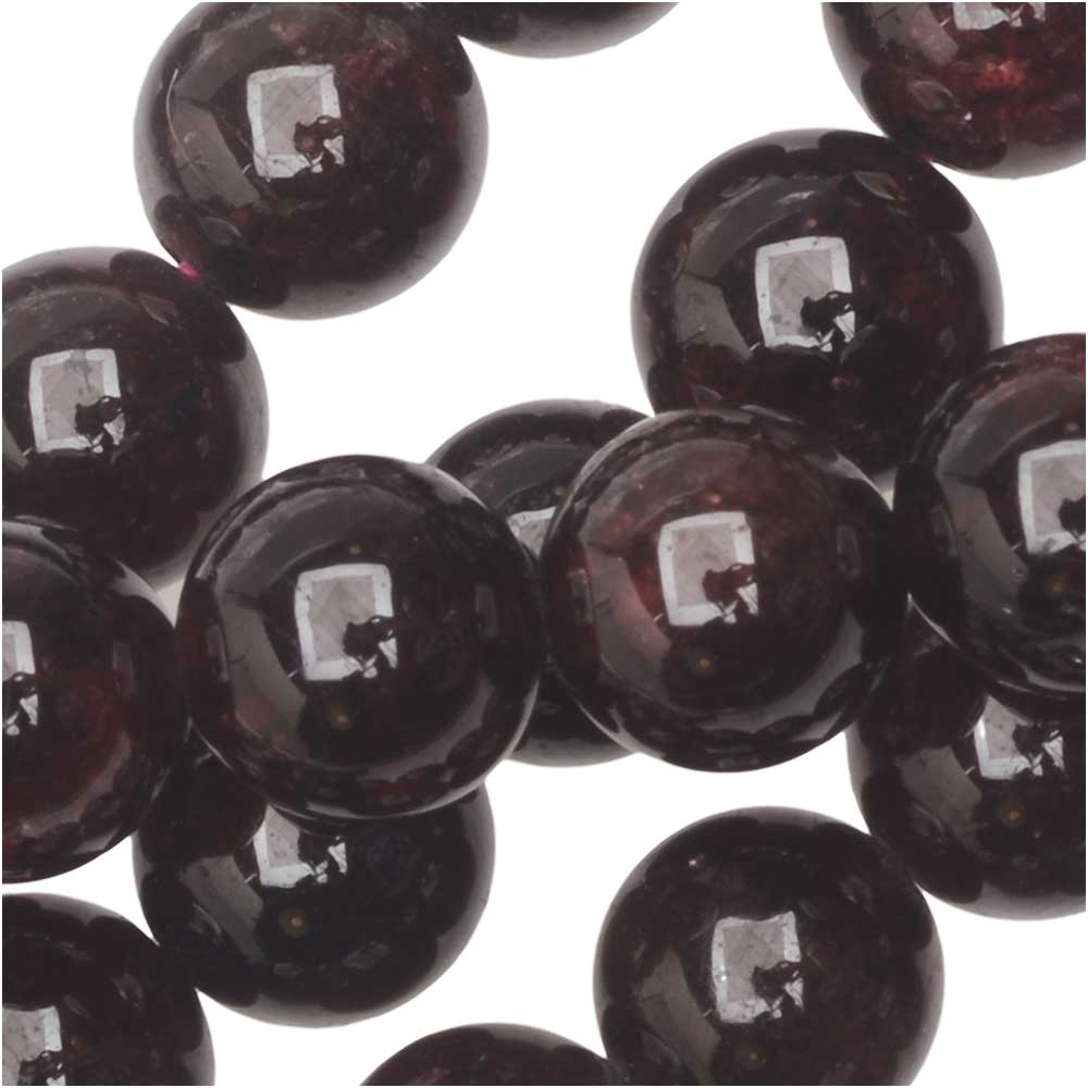 Dakota Stones Gemstone Beads, Red Garnet, Round 8mm, 8 Inch Strand