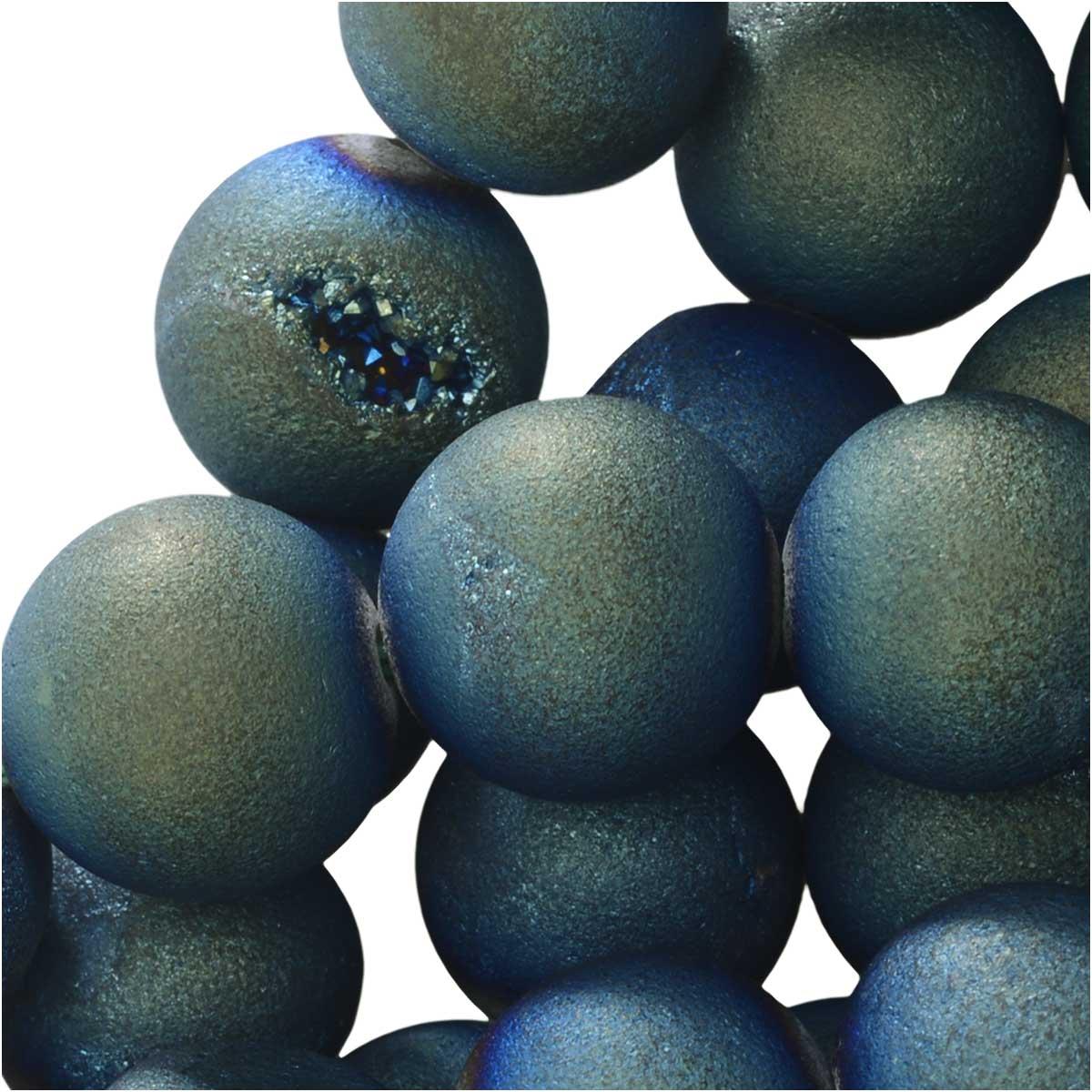 Dakota Stones Gemstones Agate Geode Druzy, Round 10mm, 15 Inch Strand, IridescentGreen