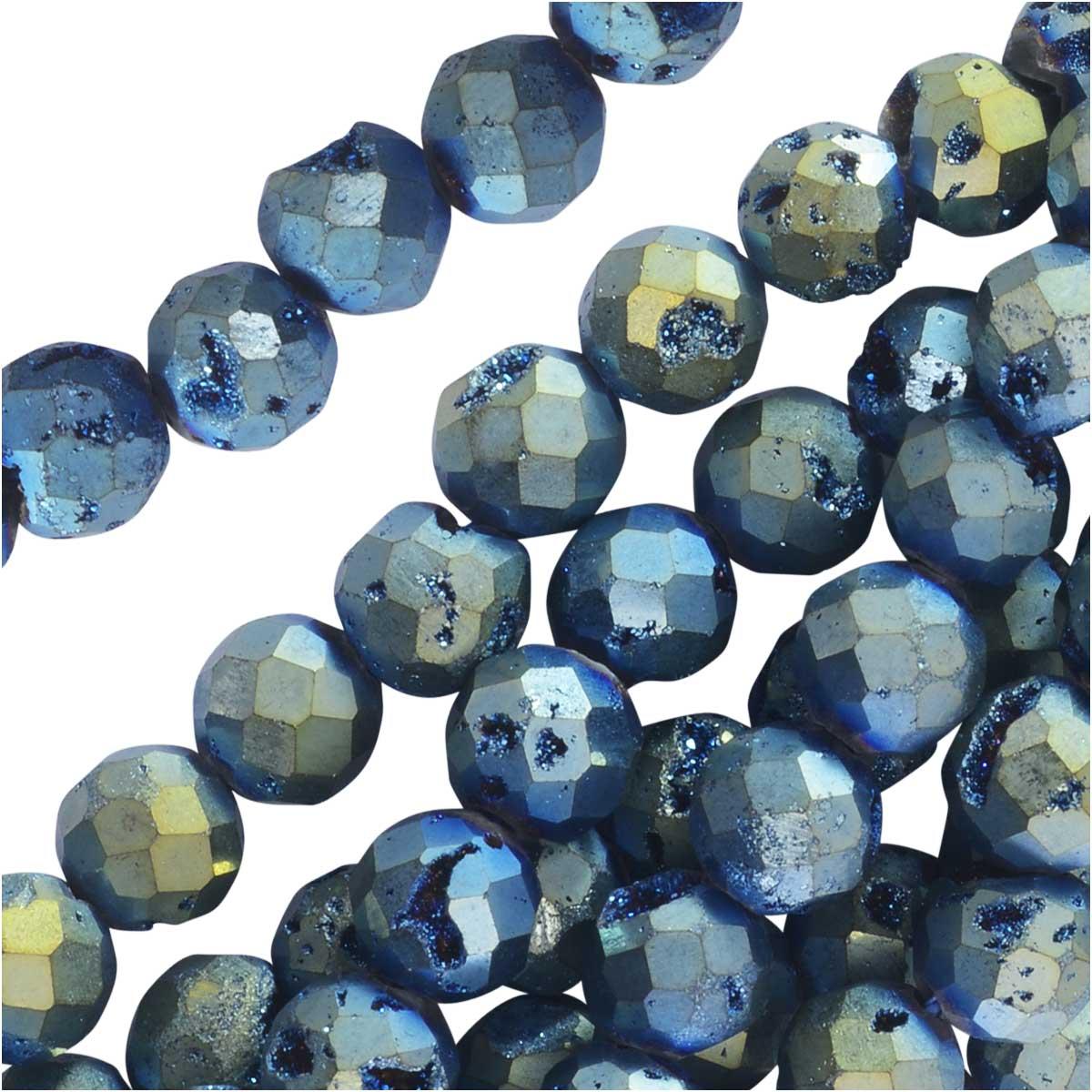 Dakota Stones Gemstone Beads, Agate Geode Druzy,Faceted Round 6mm, 8 Inch Str, Iridescent Blue Green