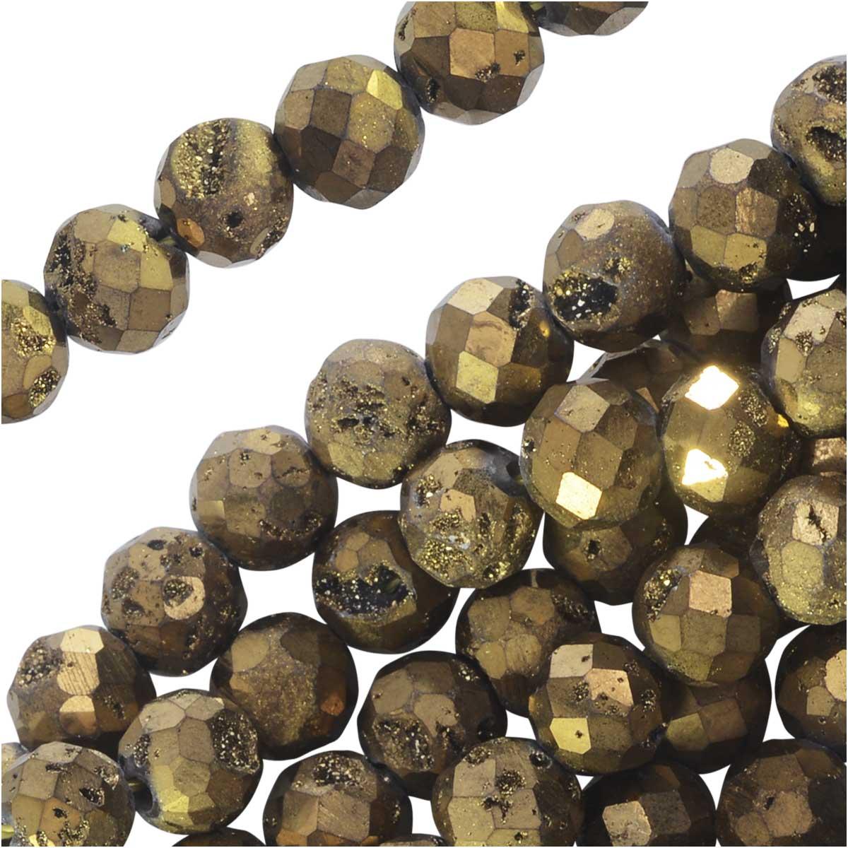 Dakota Stones Gemstone Beads, Agate Geode Druzy, Faceted Round 6mm, 8 Inch Strand, Metallic Gold