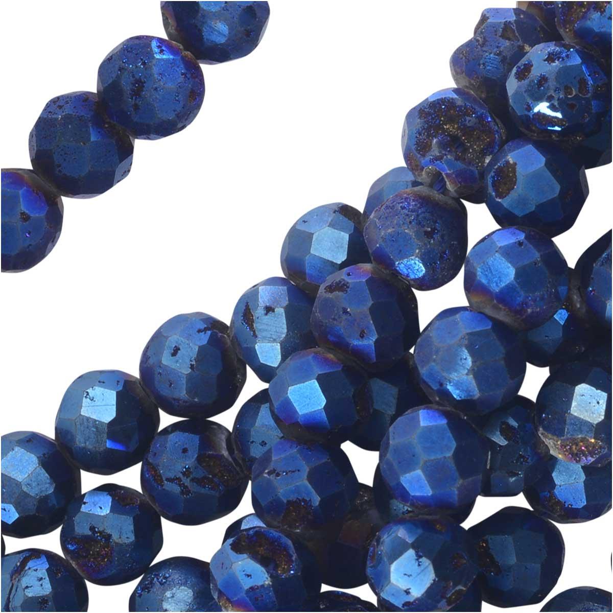Dakota Stones Gemstone Beads, Agate Geode Druzy, Faceted Round 6mm, 8 Inch Strand, Iridescent Blue