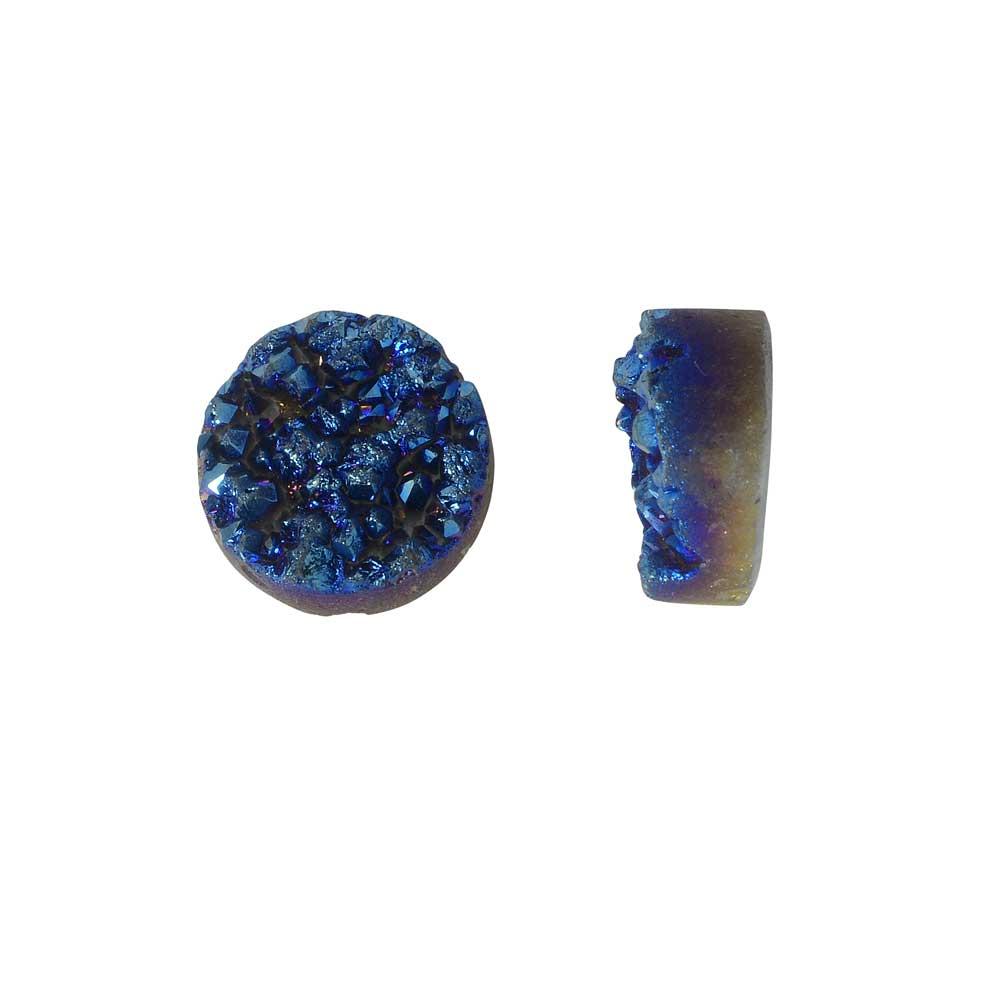 Dakota Stones Gemstone Beads, Agate Druzy, Coin 12mm, 2 Pieces, Iridescent Blue