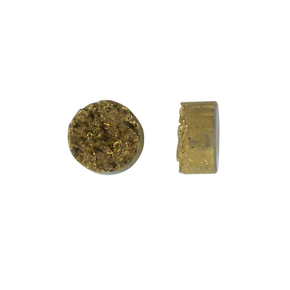 Dakota Stones Gemstone Beads, Agate Druzy, Coin 10mm, 2 Pieces, Metallic Gold
