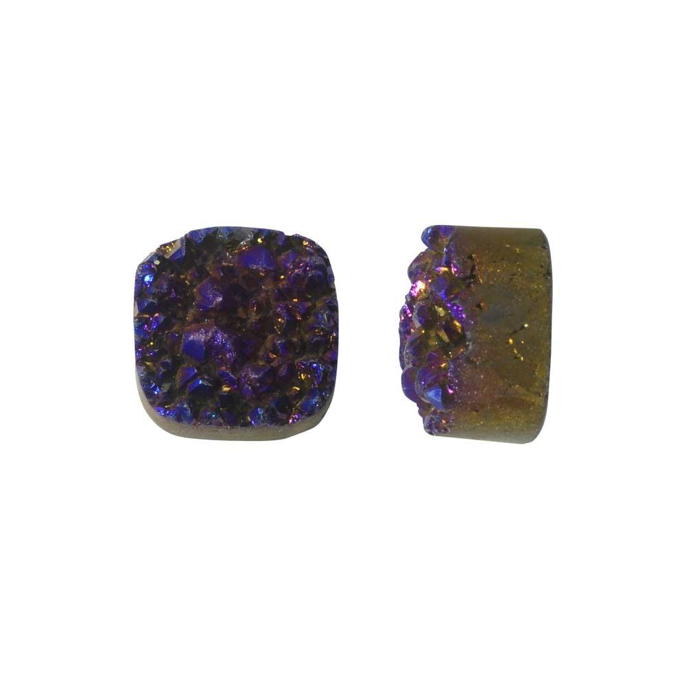 Dakota Stones Gemstone Beads, Agate Druzy, Square 12mm, 2 Pieces, Iridescent Purple