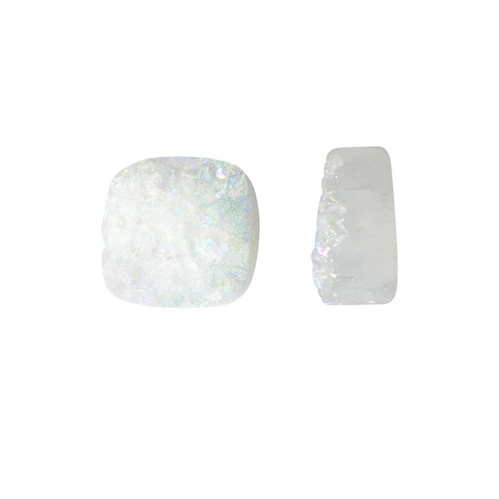 Dakota Stones Gemstone Beads, Agate Druzy, Square 12mm, 2 Pieces, Iridescent White